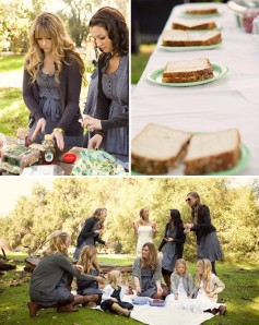 bridesmaids picnic wedding
